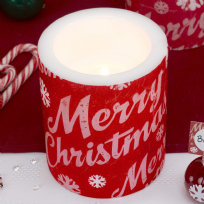 Merry Christmas Large Candle - 12 cms